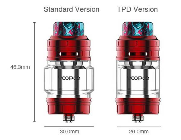 VOOPOO Rimfire RTA 5ml and 2ml specs