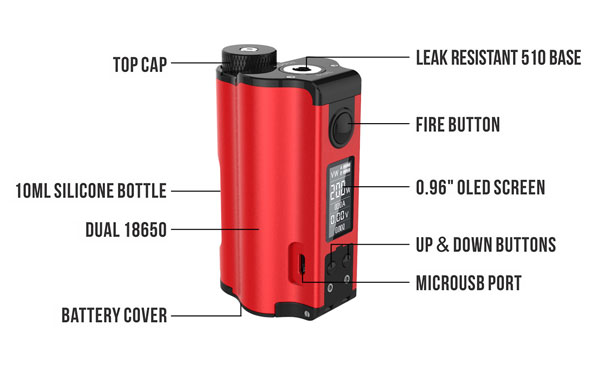 DOVPO Topside 200W Dual 18650 Squonk Mod Structure
