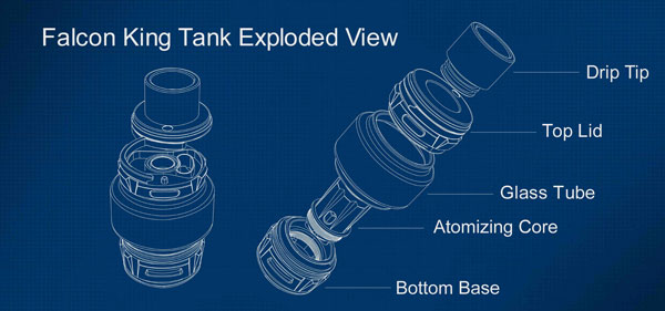 Horizon Falcon King Mesh Sub Ohm Tank exploded View