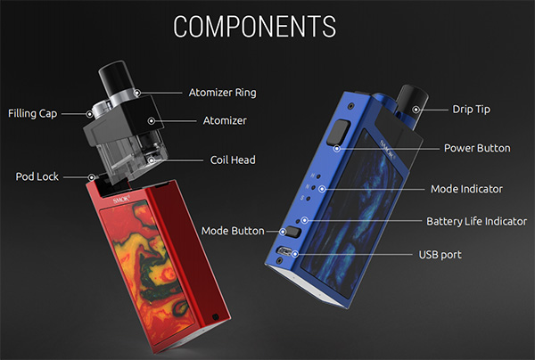 SMOK Trinity Alpha Pod Kit Components